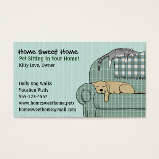 De leuke Zitting van het Huisdier van de Hond en Visitekaartjes