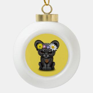 De leuke Zwarte Hippie van de Welp van de Panter Keramische Bal Ornament