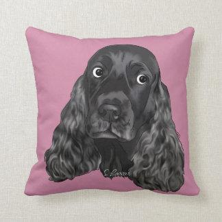 De leuke Zwarte Hond van de Cocker-spaniël Sierkussen