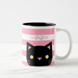 De leuke Zwarte Naam van de Douane van de Kat & Tweekleurige Koffiemok