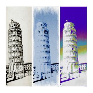 De leunende Toren van Pisa in drie tonen Drieluik