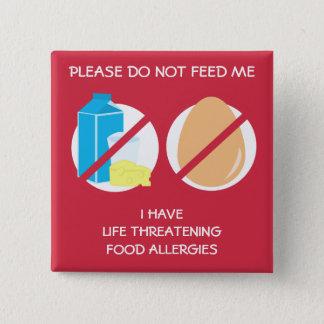 De levensgevaarlijke Speld van de Allergie van de Vierkante Button 5,1 Cm