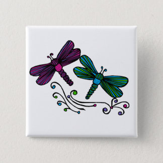 De libellenknoop van de streep vierkante button 5,1 cm