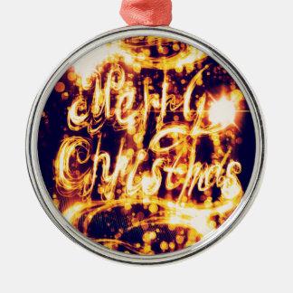 De licht Geschilderde Groet van Kerstmis Zilverkleurig Rond Ornament