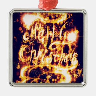 De licht Geschilderde Groet van Kerstmis Zilverkleurig Vierkant Ornament
