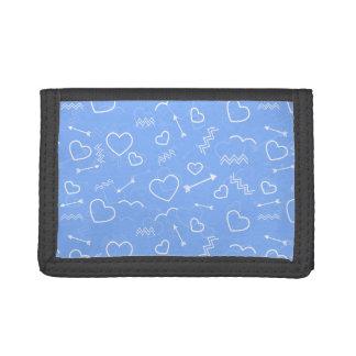 De lichtblauwe Valentijnse Krabbels van het Hart Drievoud Portemonnee