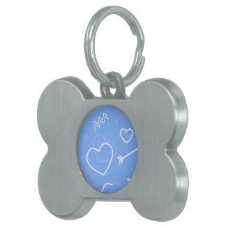 De lichtblauwe Valentijnse Krabbels van het Hart Huisdieren Naamplaatje