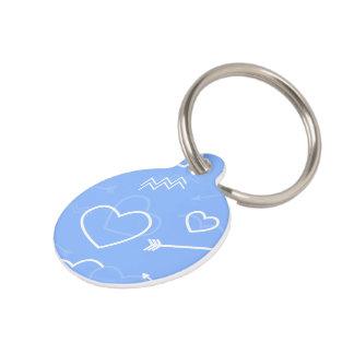De lichtblauwe Valentijnse Krabbels van het Hart Huisdierpenning