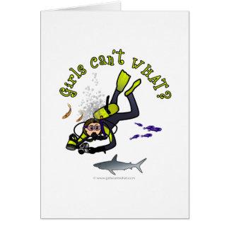 De lichte Scuba-duiker van de Vrouw Briefkaarten 0