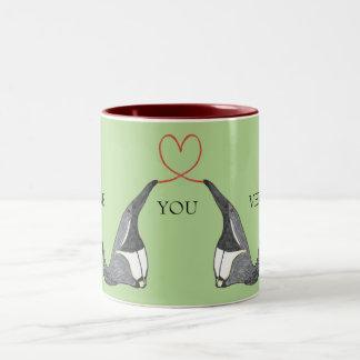 De liefde die u met leuke Miereneters hebt Tweekleurige Koffiemok