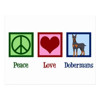De Liefde Dobermans van de vrede Briefkaart