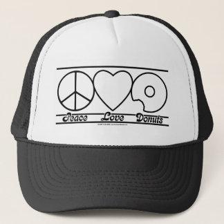 De Liefde en Donuts van de vrede Trucker Pet