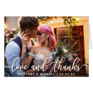 De liefde en het Bedankt   Modern Huwelijk danken Briefkaarten 0