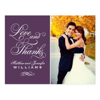 De liefde en het Bedankt | Paars Huwelijk danken u Briefkaart