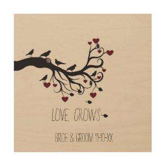 De liefde groeit hout afdruk
