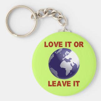 De liefde het of verlaat het basic ronde button sleutelhanger