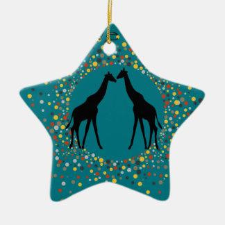 """de """"liefde is"""" dierlijke het stip elegante cirkel keramisch ster ornament"""