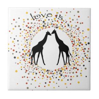 """de """"liefde is"""" dierlijke het stip elegante cirkel keramisch tegeltje"""