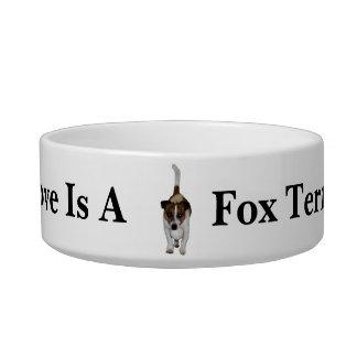 De liefde is een Fox-terrier, Ceramisch Huisdier Voerbakje