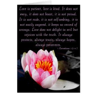 De liefde is geduldig, is de liefde vriendelijk. kaart
