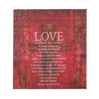 De liefde is Geduldige Liefde is het Vriendelijke  Notitieblok