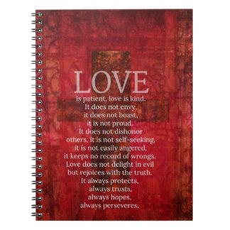 De liefde is Geduldige Liefde is het Vriendelijke  Ringband Notitieboek