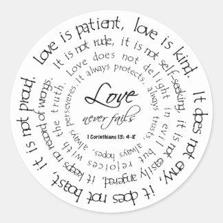 De liefde is Geduldige Zwart-witte Ronde Sticker
