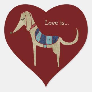De liefde is… hartvormige stickers