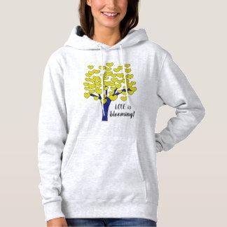 De LIEFDE is het bloeien het Leuke Gele Ontwerp Hoodie