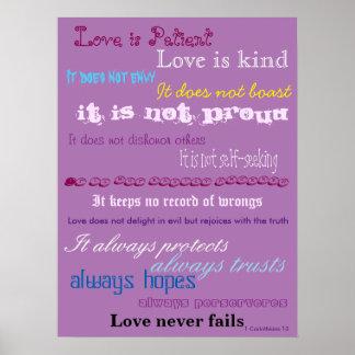 De liefde is het Geduldige Poster van het Vers van