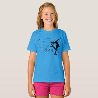 De liefde is Kunstschaatsen, met Hart - BLAUWE T Shirt