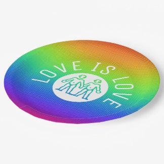 De liefde is Regenboog van de Trots LGBT van de Papieren Bordje