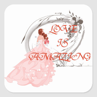 De LIEFDE IS VERBAZEND - Bruid in Roze Kleding Vierkante Sticker
