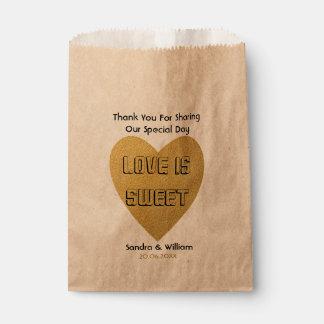De liefde is Zoet Huwelijk dankt u Gouden Hart Bedankzakje