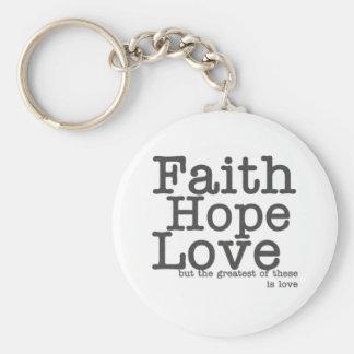De Liefde Keychain van de Hoop van het geloof Basic Ronde Button Sleutelhanger