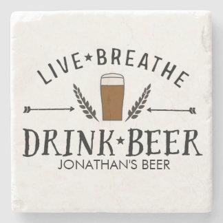 De Liefde Levende Hipster van het bier ademt drink Stenen Onderzetter