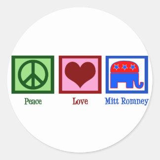 De Liefde Mitt Romney van de vrede Ronde Sticker