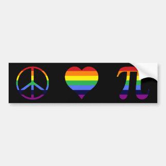 de liefde pi van de regenboogvrede bumpersticker
