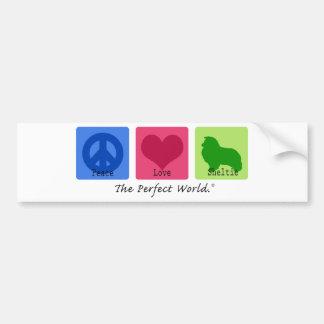 De Liefde Sheltie van de vrede Bumpersticker