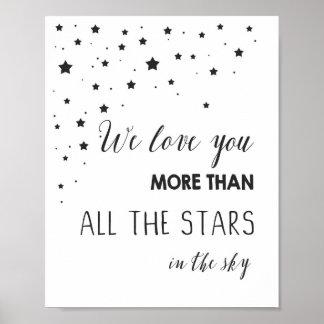 De liefde u meer dan alle sterren citeert poster