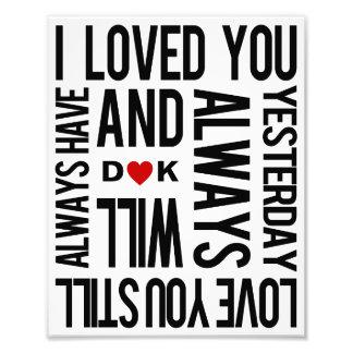 """De """"liefde u"""" personaliseerde de Druk van de Kunst Foto Print"""
