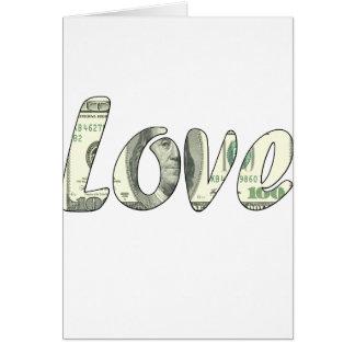 De liefde van de dollar kaart