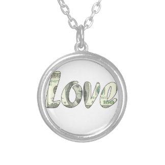 De liefde van de dollar zilver vergulden ketting