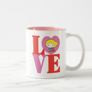 De LIEFDE van Supergirl van Chibi Tweekleurige Koffiemok