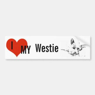 De Liefde van Westies, zwart-witte tekening Bumpersticker