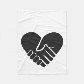 De liefde verbond zwart hart fleece deken