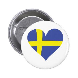 de liefdehart van Zweden - Zweedse vlag Ronde Button 5,7 Cm