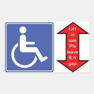 """De """"lift van de rolstoel in Gebruik """" Rechthoekige Sticker"""