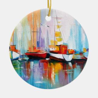 De ligplaats van de boot rond keramisch ornament