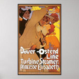 De Lijn van het Stoomschip van Dover Oostende Poster